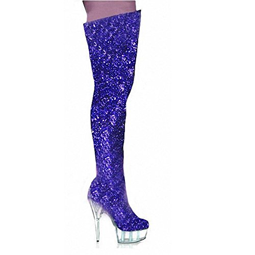Super Støvler Ydeevne Klmknjnjnnnn Krystalklar Høje Lange Natklub Dancing 43 Pole Rosered Knæ Kvinder Hud 39 Ende Blå Handsker Hæle 55x0Or