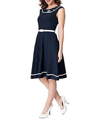Pinup Fashion Women Casual Sleeveless Summer Midi Swing Dress Navy Blue with Belt