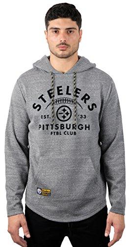 Icer Brands NFL Pittsburgh Steelers Men's Fleece Hoodie Pullover Sweatshirt Vintage Logo, X-Large, Gray
