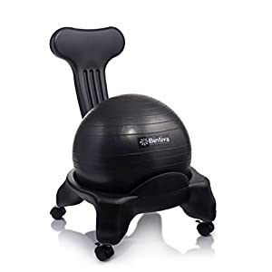 Exercise Ball Chair For Home and Office Includes Free Pump and Wheels That Lock
