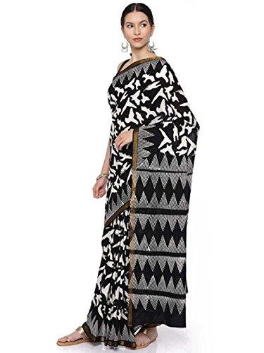 Cotton Gocoop Handicrfats Black Saree Export Pure amp; Indian White Abstract Printed P0OqxwWE