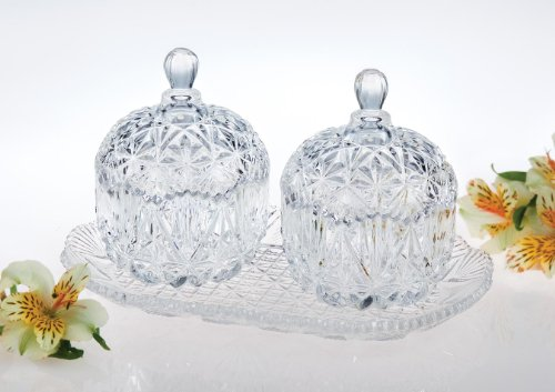 Studio Silversmiths Crystal Double Mini Canisters with Tray (Crystal Canister compare prices)