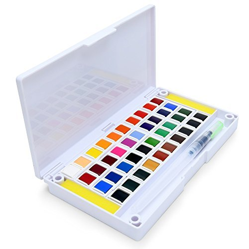 40 Watercolor Paint Set Portable Water Colors Set Includes Water Brushes Sponges Mixing Palette ()