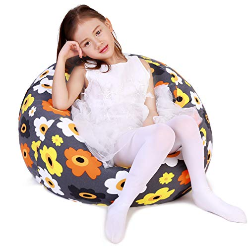 Lukeight Stuffed Animal Storage Bean Bag Chair, Bean Bag Cover for Organizing Kid's Room - Fits a Lot of Stuffed Animals, Standard Size 38, Flowers Gray