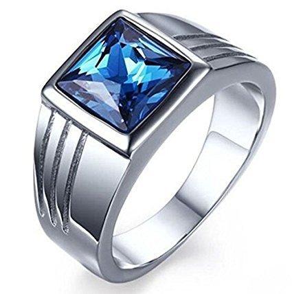Jaywine2 Fashion - Anillo de acero inoxidable para hombre de zafiro azul cuadrado SZ7-14 (8)