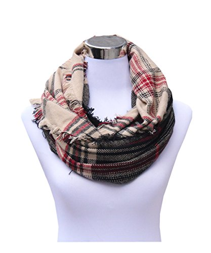Lucky Leaf Women Winter Checked Pattern Cashmere Feel Warm Plaid Infinity Scarf (New-Camel Black Red)