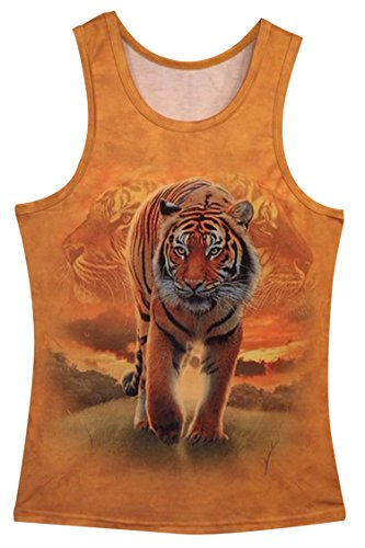 Tigers Womens Tank Top (Pink Queen Unisex Tiger Digital Print Sleeveless Tank Top Vest(L))