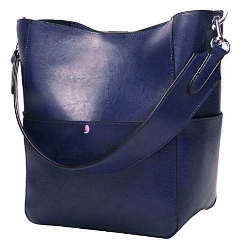 (Molodo Women's Satchel Hobo Top Handle Tote Shoulder Purse Soft Leather Crossbody Designer Handbag Big Capacity Bucket Bags (Darkblue))