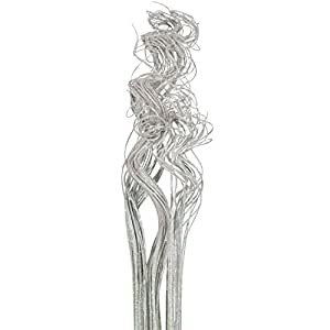 "Iridescent White Sparkle Glitter Curly Ting Ting Branches Vase Filler for Wedding, Holiday & Home Decoration by Royal Imports, 26"", 75 Stems"