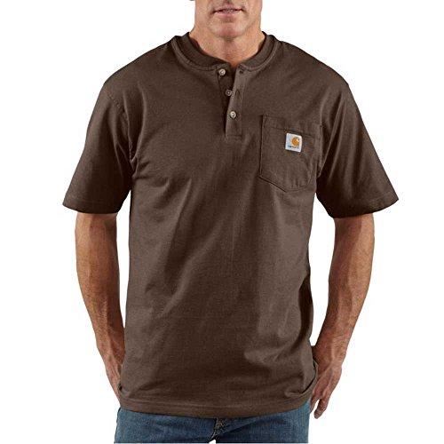 Brown Short Sleeve Work Shirt (Carhartt Men's Shortsleeve Workwear Henley T-Shirt K84,  Dark Brown,  Large)