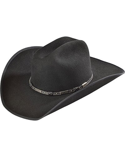 (Justin Men's Bent Rail 7X Dagger Fur Felt Cowboy Hat Black 7 )