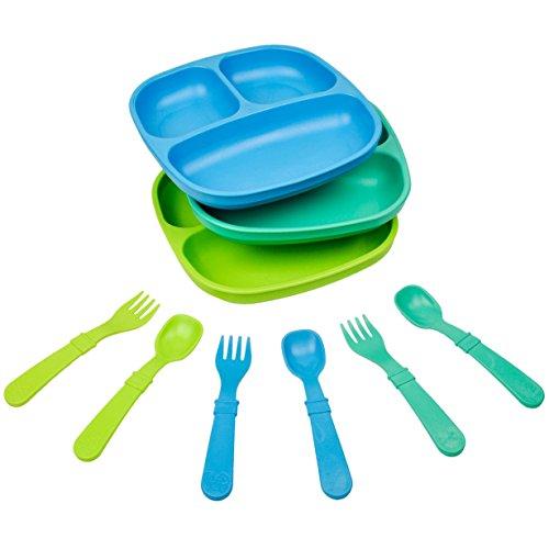 Juego de vajilla Re-Play fabricado en los Estados Unidos, 3 platos divididos con utensilios a juego, Bajo el mar