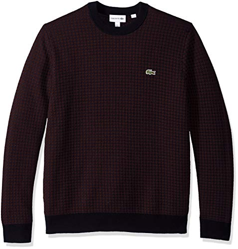 Lacoste Men's Long Sleeve Houndstooth Crewneck Sweater, Navy Blue/Vertigo, XXX-Large