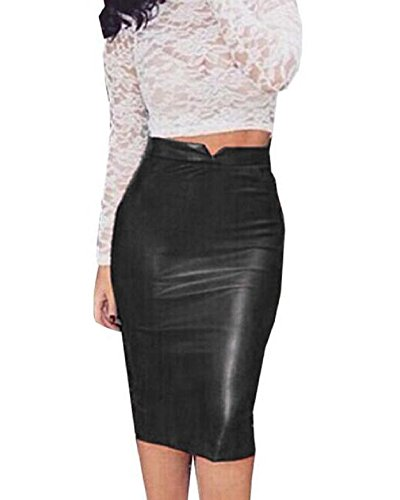 Nero Skirt Sexy Pelle Minetom Pannello Bodycon Gonna Midi Partito PU Cocktail Autunno Pacchetto Donna Dell'anca Esterno Invernali qwwO5Ba
