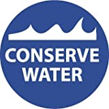 NMC HH93 2'' x 2'' PS Vinyl Hard Hat Emblem w/Legend: ''Conserve Water'', 12 Packs of 25 pcs