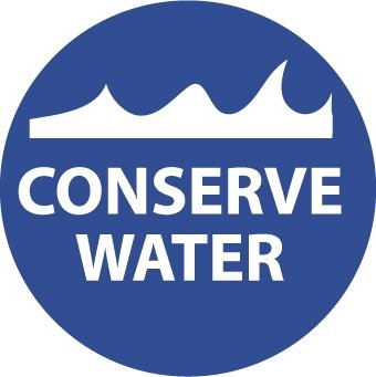 NMC HH93 2'' x 2'' PS Vinyl Hard Hat Emblem w/Legend: ''Conserve Water'', 12 Packs of 25 pcs