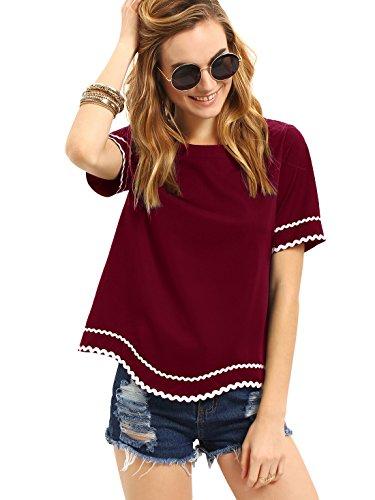 MakeMeChic Women's Waved Print Trim Short Sleeve Summer T-shirt Tops Blouse Burgundy M