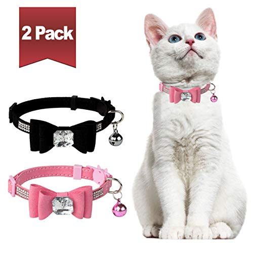 BINGPET Breakaway Cat Collar with Bowtie Diamonds and Bell Adjustable Safety for Puppy Kitten, Pink&Black (2 Pack)