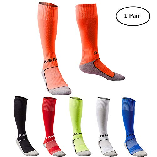 Kids Long Soccer Socks Sports Team Tube Compression Stockings Knee High Football Socks (Orange)