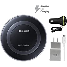 Samsung Qi Fast Wireless Pad W/Fast Wall Charger & Car Charger - For S6,S7,Edge,S8,Note5,Note8,iPhone 8,+,X - Home/Office/Car (Certified Refurbished)
