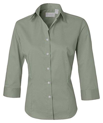 Van Heusen Women's Durable 3/4 Sleeve Dress Twill Shirt, SAGE, (Twill Sage)