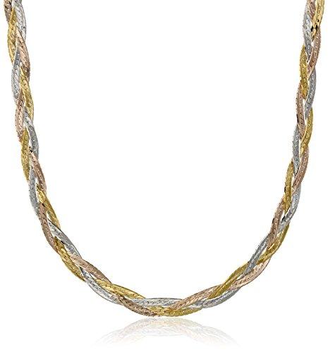 Strand 14k Three Gold (14k Gold Tri-Color Italian 3-Strand Diamond Cut Braided Herringbone Necklace, 16