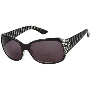 Readers.com The Bernice Bifocal Sun Reader Black with Smoke Bifocal Sun Readers with Rhinestones Square Reading Glasses