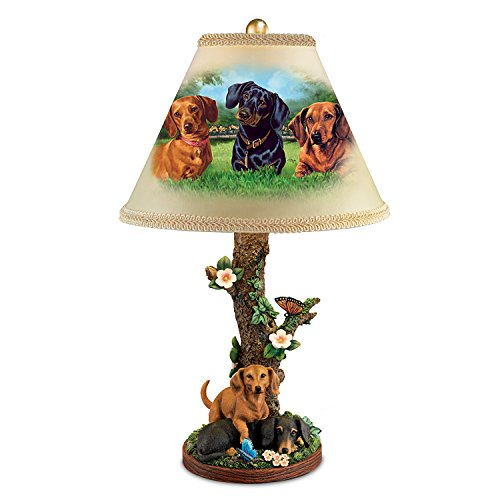 Linda Picken Darling Dachshunds Accent Table Lamp With Sculpted Dachshunds Base by The Bradford Exchange
