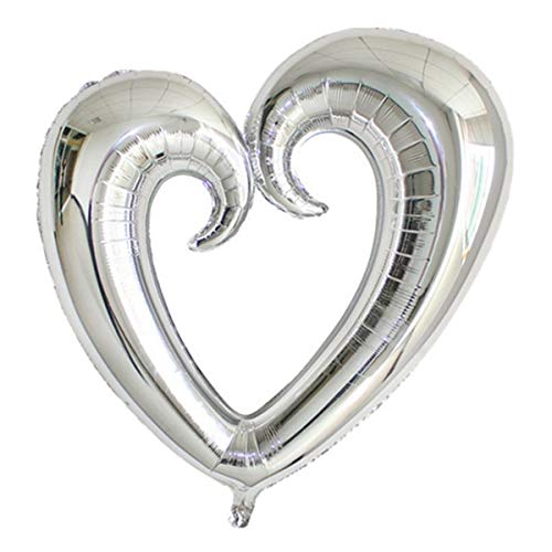 FairOnly 18inch Wedding Decoration Hook Heart Shaped Foil Balloon for Valentine's Day Marriage Helium Balloons Celebration Party Supplies Silver ()