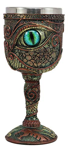 Ebros Wizard's Alchemy Eye Of The Dragon Wine Goblet Chalice 7oz Capacity Figurine Resin With Stainless Steel Liner (Greenman Goblet)