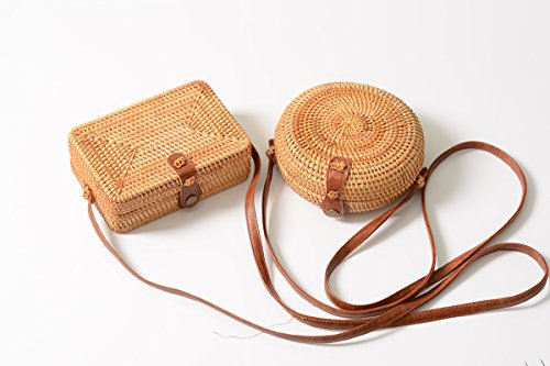Crossbody YOUTHUNION Bags Bag Style Tropical Beach Knitted Basket PU Rattan Straw Strap Handwoven Round Tote Bag Bali Leather rqzpwr