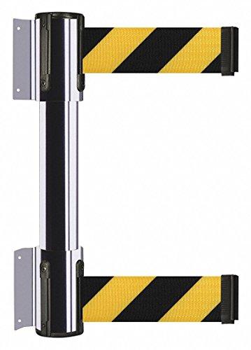 24 24/' Tensator No Custom Magenta//Yellow Chevron Webbing Standard Belt End Tensabarrier 897-24-S-35-NO-D5X-C Standard Wall Mount Yellow Caps