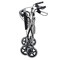 Ultra Lightweight Titanium Rollator with Curved Backrest and Storage Basket