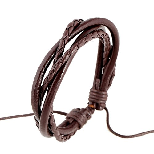 Bishilin Fashion Jewelry Men'S Student Couple Ropes Woven Couple Female String Bracelet Jewelry Brown Leather Cuff Wrap Bangle Bracelets by Bishilin