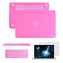 """Macbook Air 11"""" Case,Anrain Soft-Skin See Through Plastic Hard Case Cover & Keyboard Cover & Screen Protector for Macbook Air 11.6"""" NO CD-ROM (A1370/A1465),Hot Pink"""