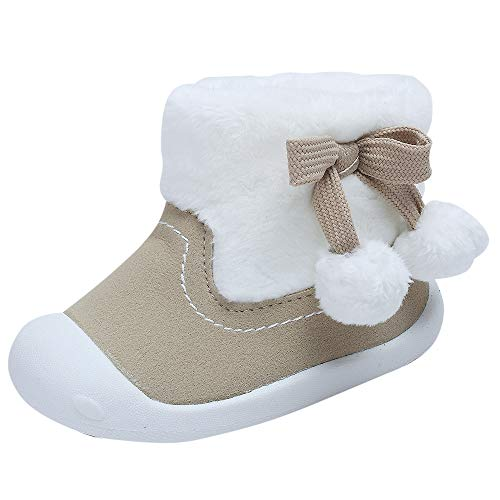 Toddler Baby Girls Boys Boots Plush Pom Pom Rubber Sole Non-Slip Outdoor Shoes Warm Snow Boots 9-24months