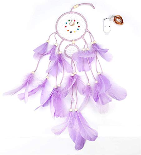 Qukueoy Dream Catchers for Bedroom Wall Hanging Decorations, Dreamcatcher Home Ornaments for Fantasy Gifts, Caught Your Dream (Purple)