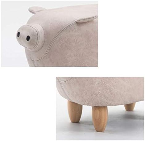 Tabouret Pouf en Bois Massif Pouf Pouf en Tissu Canapé Enfants Changement Chaussures Tabouret Reste Chaise Salon Chambre Cochon Forme Blanc