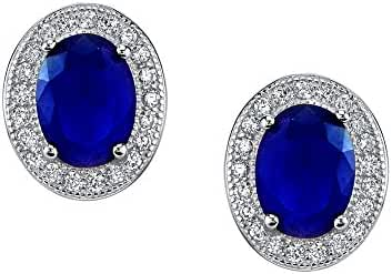 Minxwinx 925 Sterling Silver Formal Stud Sapphire and CZ earrings with Lever Backs