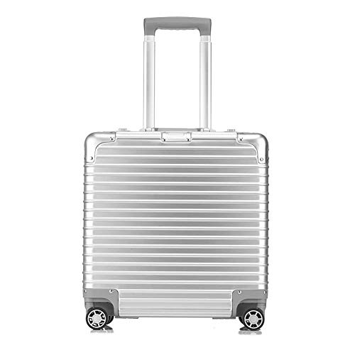 (MYXMY Ultra-Light Portable Organizer Hand Luggage Suitcase with Built 3-Digit Combination Lock Business Trolley Case with Laptop Compartment-Silver)