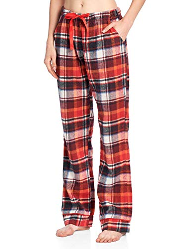 Orange Womens Sleep Pant - Ashford & Brooks Women's Super Soft Flannel Plaid Pajama Sleep Pants - Sunset - Large
