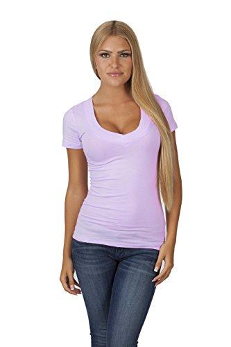 4699696944 Hollywood Star Fashion Women s Deep V-Neck Short-Sleeve Shirt Plus Size (3XL