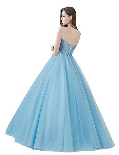 Prinzessin Abendkleider mit Tüll Spitze Lang Damen LuckyShe Türkis Ballkleider aFK4q