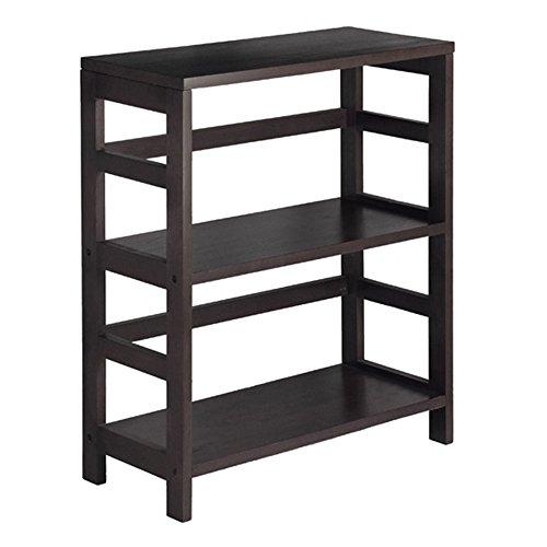 3-Tier Storage Shelf - 2-Section Wood Storage Shelf -Brown
