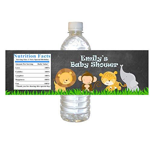 30 Water Bottle Sticker Labels Baby Shower Jungle Safari Chalkboard