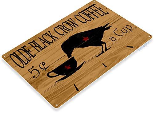 Tinworld Tin Sign Olde Black Crow Coffee Rustic Store Metal Sign Decor Kitchen Cottage Cave -