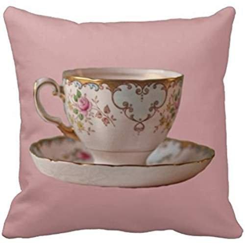 [Pink Tea Cup And Saucer With Roses Pillow Case] (Linen Rose Saucer)