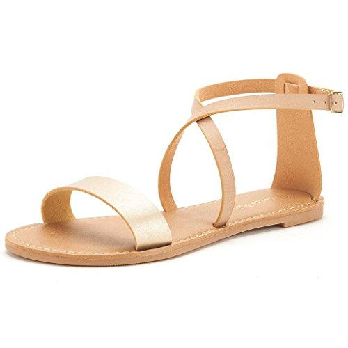 Gold Criss Cross Design (DREAM PAIRS CROX New Women Open Toe Fashion Crisscross Valcre Ankle Straps Summer Design Flat Sandals Gold-Nude Size 6.5)