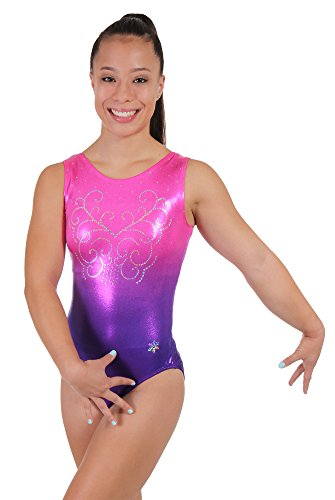 Snowflake Designs Leotards - Snowflake Designs Pink and Purple Ombre Girls Gymnastics Tank Leotard (Child Small)