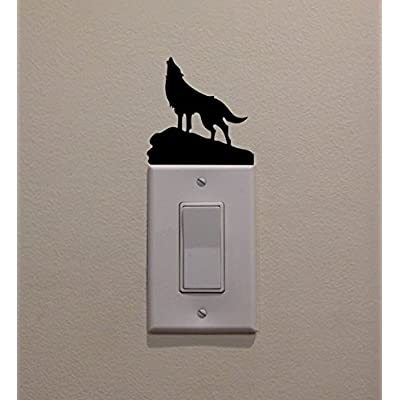 YINGKAI Werewolf Howling at Moon on Cliff, On Light Switch Decal Vinyl Wall Decal Sticker Art Living Room Carving Wall Decal Sticker for Kids Room Home Window Decoration: Home & Kitchen